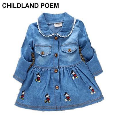 Autumn winter Lovely Children Girls Cartoon Long Sleeve Jean Dress Baby Girls Cute Denim Dress Kid Lapel Fashion Dress Outfits