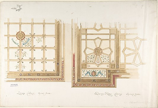 Design for Library or Dining Room Ceiling, Coffered and Painted Rust and Olive Green John Gregory Crace  (British, London 1809–1889 Dulwich)