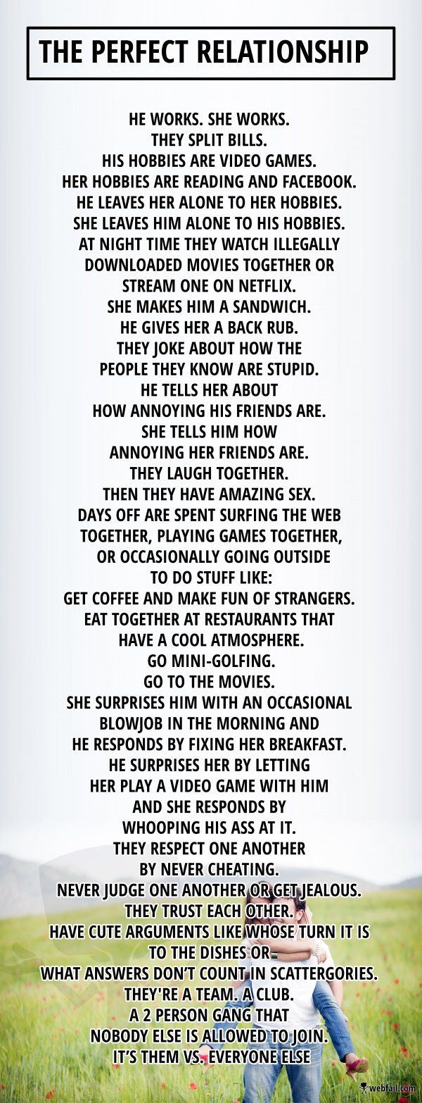 The perfect relationship - Win Picture | Webfail - Fail Pictures and Fail Videos- he said, accurate!