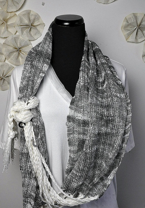 Lola white with sparkly black and silver yarn adorned by amberkane, $90.00