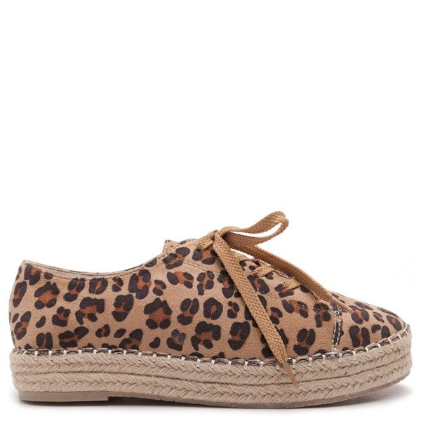 Leopard printed flats espadrilles with laces in camel colour.