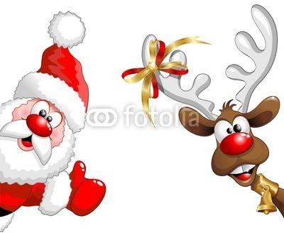 #Funny #Santa and #Reindeer #Cartoon! © bluedarkat #37197676 - http://it.fotolia.com/id/37197676/partner/200929677