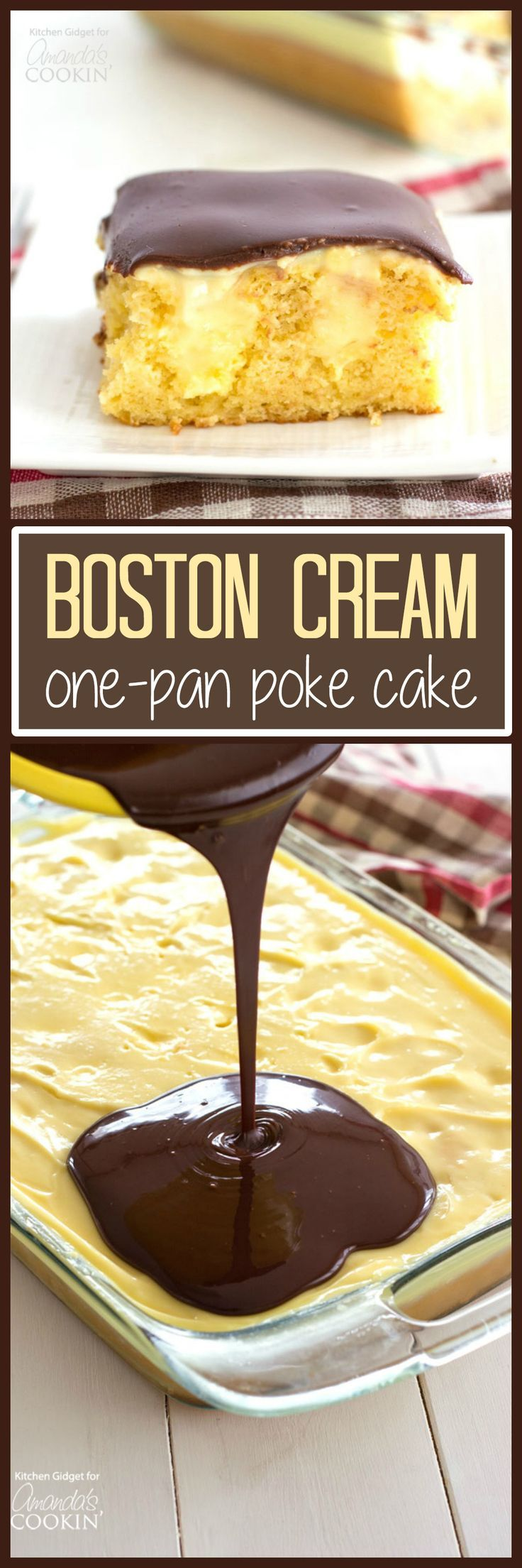 This Boston Cream Poke Cake is so easy and scrumptious. Plan to take this one-pan dessert to your next gathering, it'll be a hit!