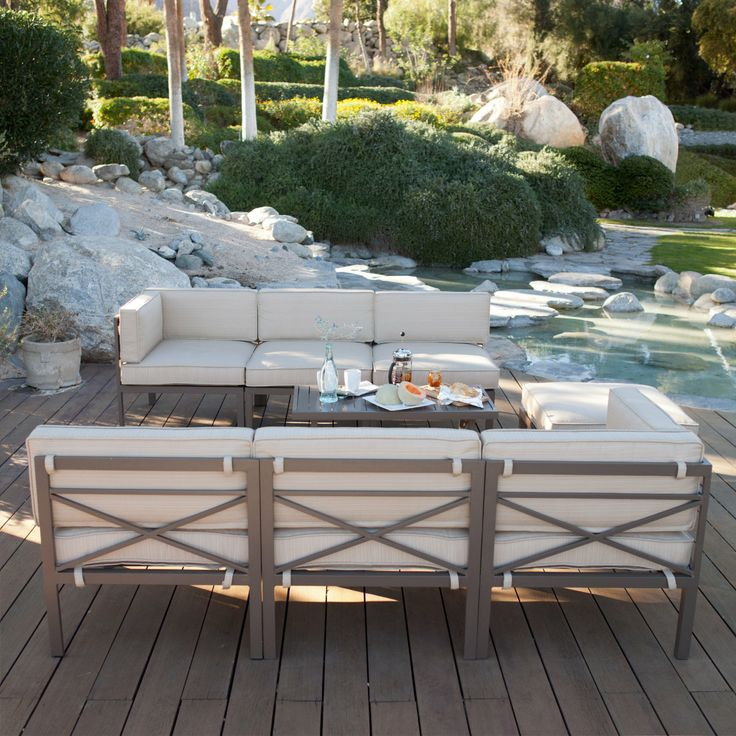 Coral Coast Bellagio 10 pc. Aluminum Sectional Sofa Set - Seats 8 - Conversation Patio Sets at HayneedlePatio Sets, Patios Sets, Coral Coast, Coast Bellagio, Converse Patios, Sofas Sets, Modular Design, Convers Patios, Sectional Sofas