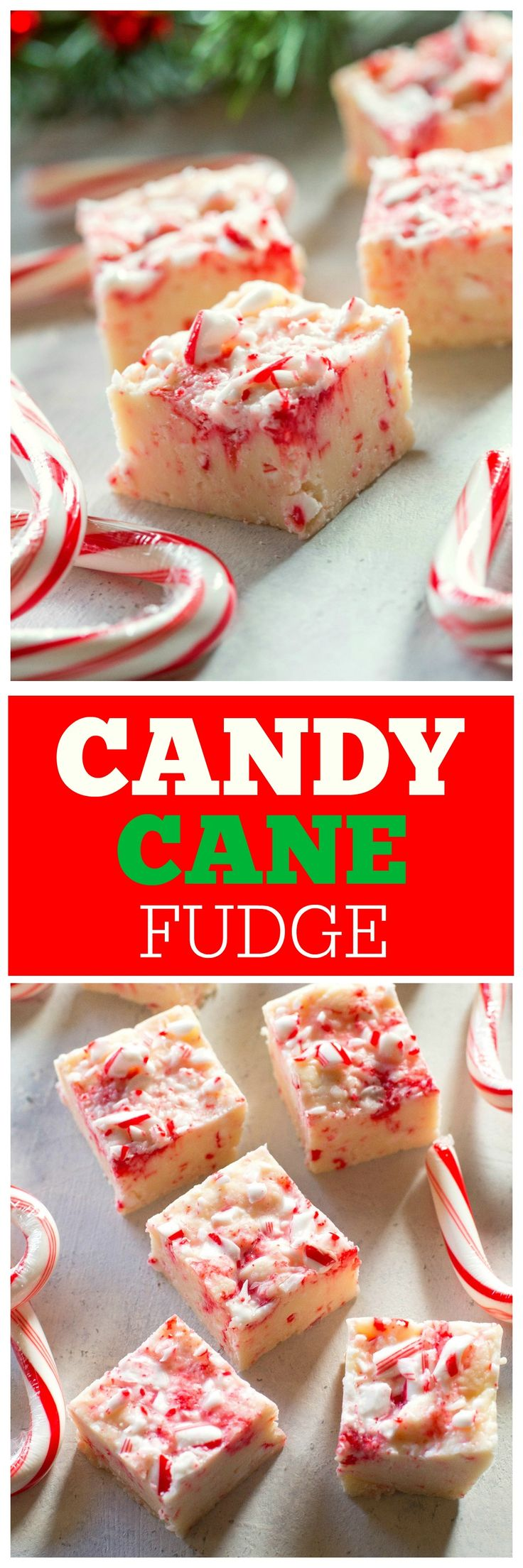 Candy Cane Fudge - only 5 ingredients and so delicious. the-girl-who-ate-everything.com