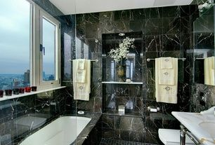 Master Bathroom with Complex marble counters, High ceiling, ceramic tile floors, Daltile marble collection china black
