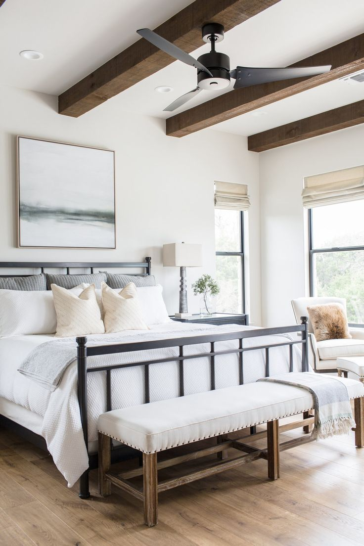 Wood beam detail + exposed beams + bench at end of…