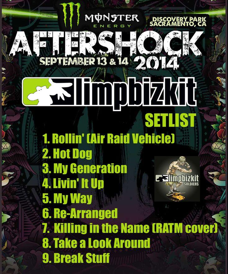 #LimpBizkit Setlist #aftershockfestival 13/09/14