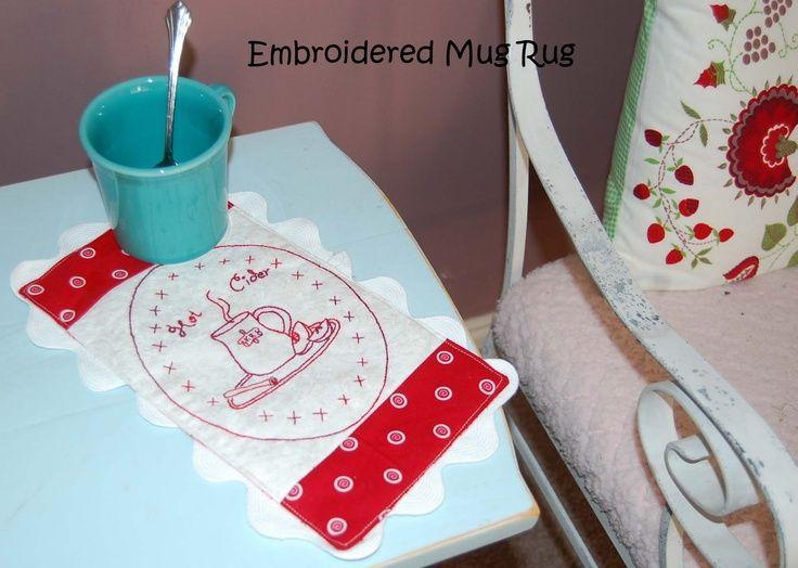 Mug Rug Pattern Free Size | Embroidered Mug Rug Pattern