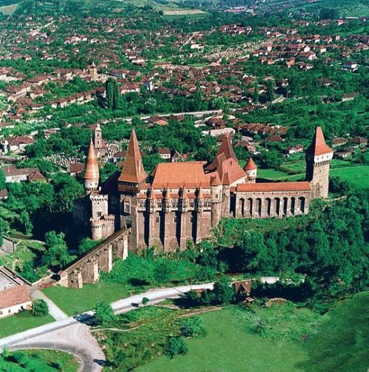 Hunyad medieval castle Hunedoara aerial Romania Transylvania