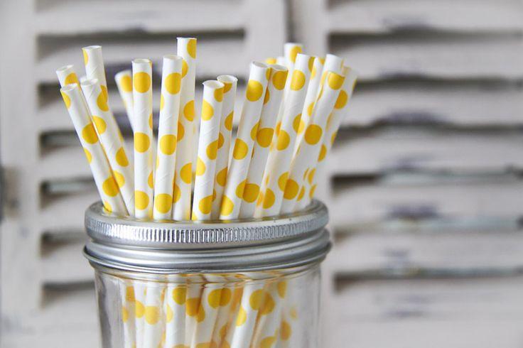 Yellow Polka Dot Paper Straws - Teelee - A Bits & Bobs Brand