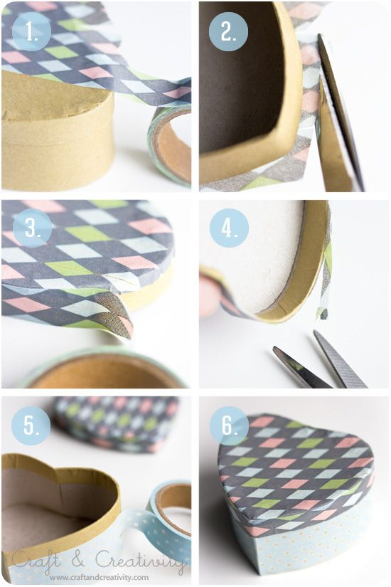 How to decorate a heart-shaped box with washi tape. Washitejpade askar – Boxes decorated with washi tape | Craft & Creativity.