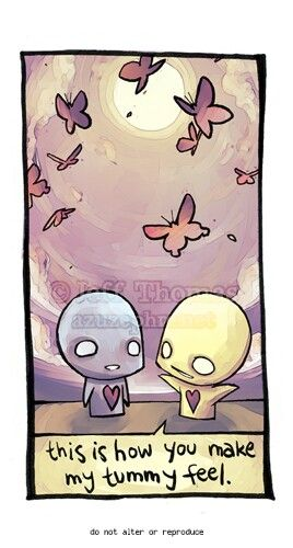 Emo cartoon... love... How your tummy feels when you're in love. Butterflies