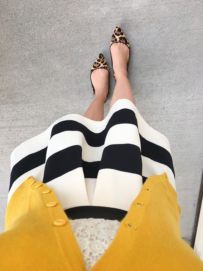 Stripe it lucky skirt, ivory cream lace top, mustard chartreuse cardigan, leopard flats, click the photo for outfit details!