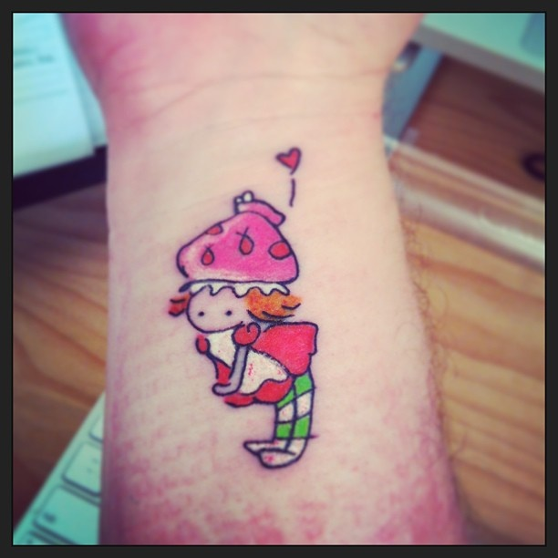 Strawberry Shortcake - from a sketch by Katie Cook. Done at Skin Deep Tattoo, Sydney.