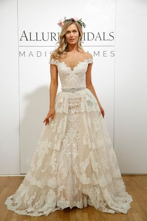 Stunning lace, off the shoulder, fit and flare wedding dress with beaded belt detail - Spring 2018 collection by Allure Bridals @allurebridals {Dan Leca}