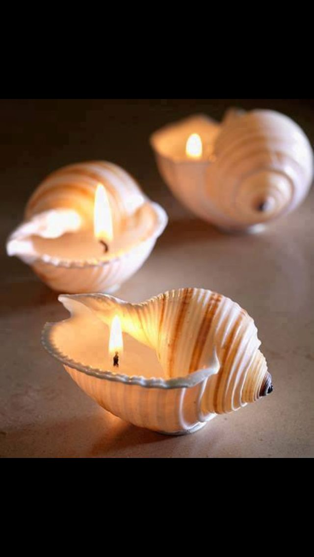 Sea shell candle idea. I love the simplicity of these. www.PamelaKemper.com
