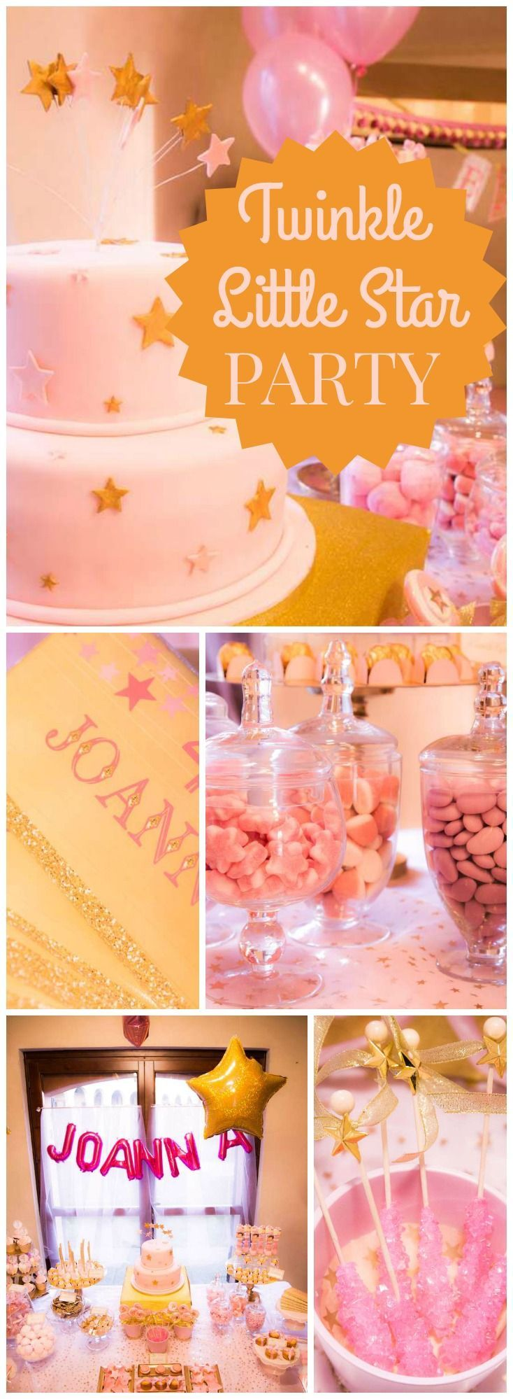 This pink and gold Twinkle Twinkle Little Star party has a lovely cake on slide 12! See more party ideas at CatchMyParty.com!