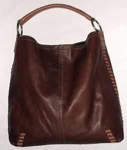 Lucky Brand Brown Tan PEBBLED Leather Whipstitch Tote Hobo Slouch Large Purse | eBay