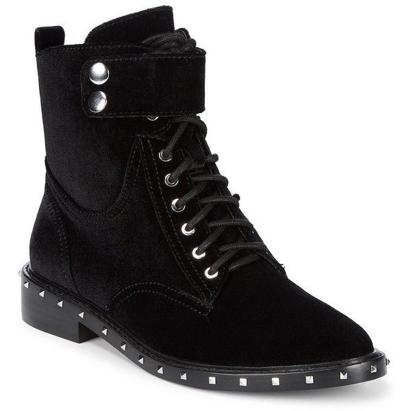 Vince Camuto Women's Studded Velour Combat Boots ($179) ❤ liked on Polyvore featuring shoes, boots, dark grey, studded combat boots, lined combat boots, laced boots, lacing combat boots and fleece-lined boots