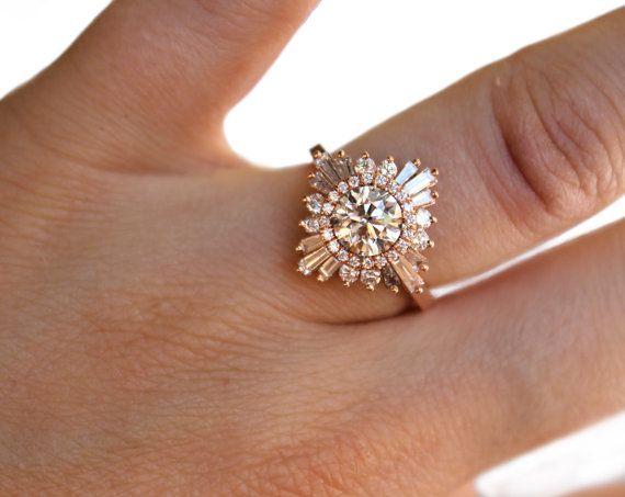 Artsy! Stunning Diamond White/Rose/Yellow Gold Ring by HeidiGibsonDesigns