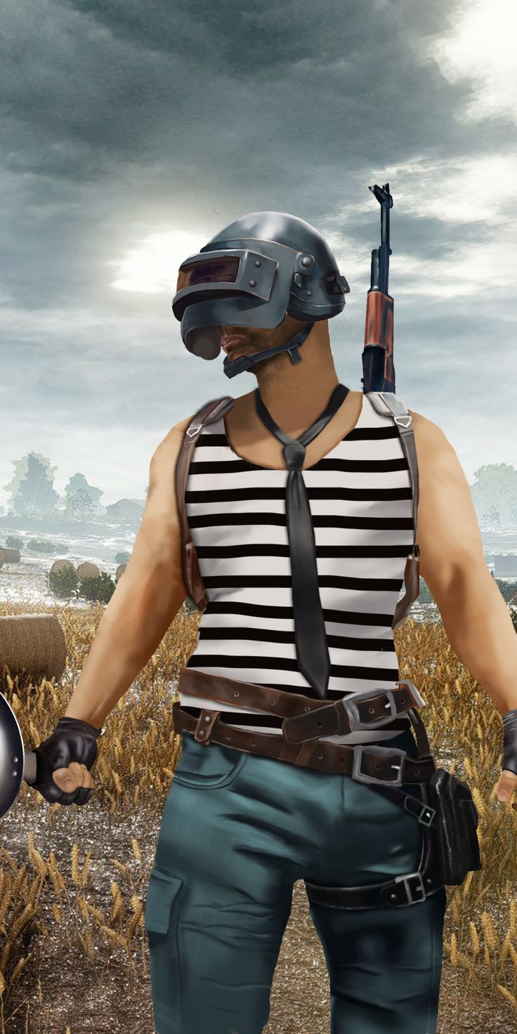 PUBG, helmet with cooking pan, player, art, 1080x2160