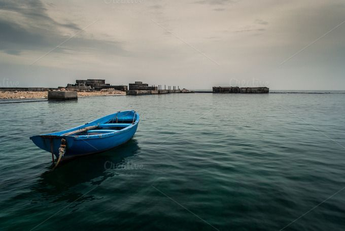Blue boat by countgeoff on Creative Market