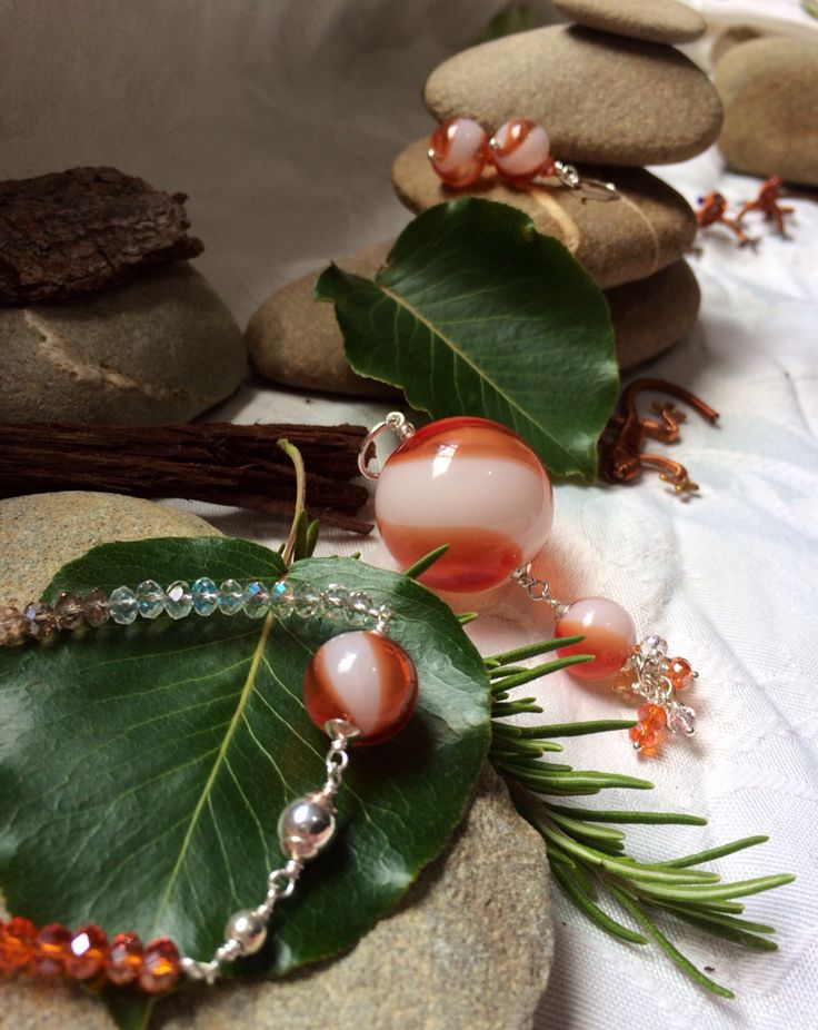 Hand blown and Czech glass set #design #unique #jewellery #handmade #GGJewellery