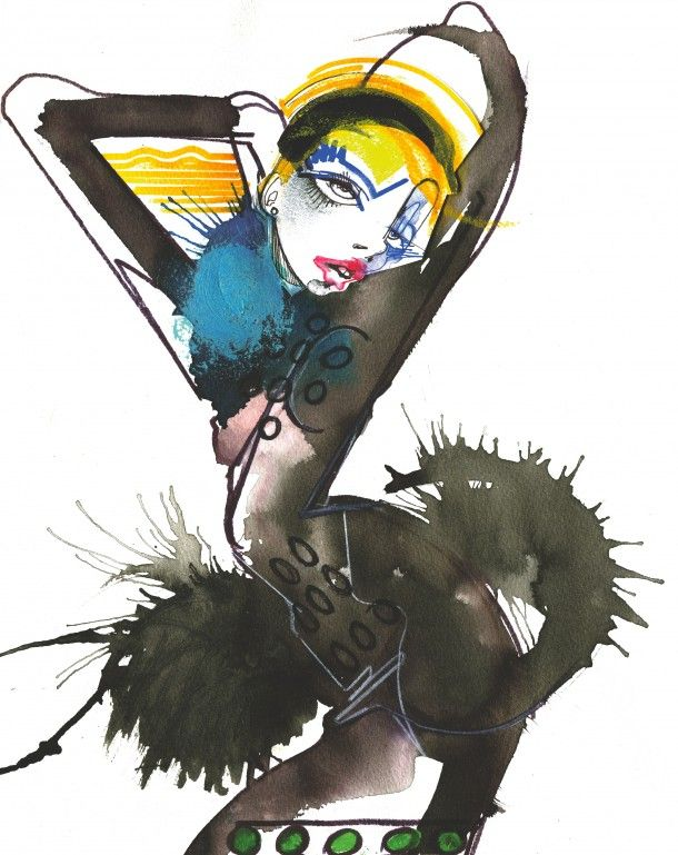 Live catwalk illustration at david koma by julie verhoeven