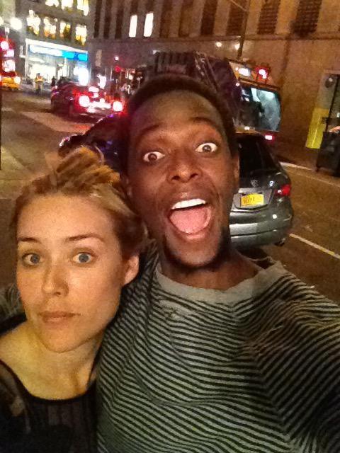 """Traipsing around the theater district with this one."" – Edi Gathegi Megan Boone and Blacklist co-star Edi Gathegi (aka Blacklister Mr. Solomon)"