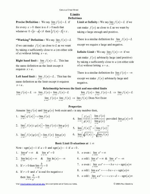 cheat sheets for finite math This cheat sheet integrates a variety of topics in probability the-ory and statistics it is based on literature [1,6,3] and in-class material from courses of the.