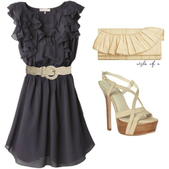 Grey ruffle dress with cream