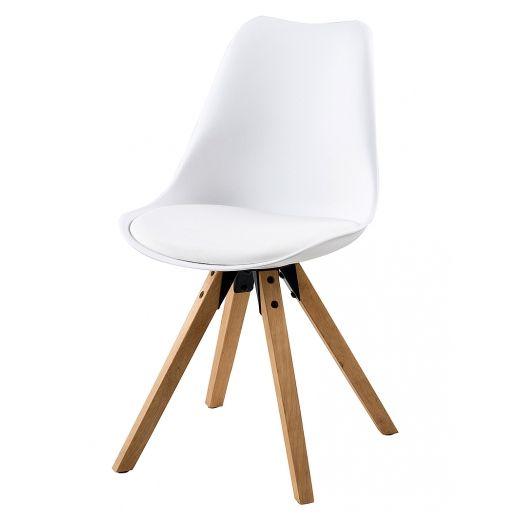 Jídelní židle Damian (SET 2 ks), dřevo/bílá - 1