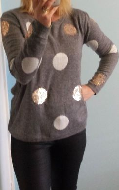 Gorgeous white spot and gold sequin spot 35% wool jumper from wink collection