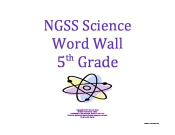 Science Word Wall 5th Fifth Grade Vocabulary NGSS 2013 Aligned