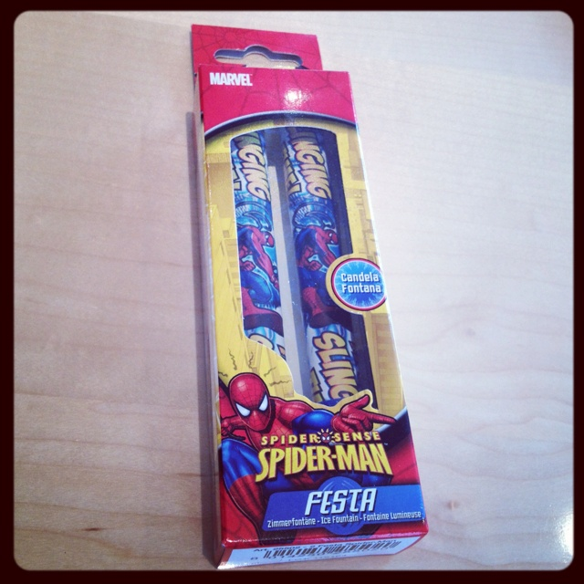 No better way to finish off a Super Heros party than with a Spiderman Fountain candle! Www.fountaincandles.com/childrens-parties.html
