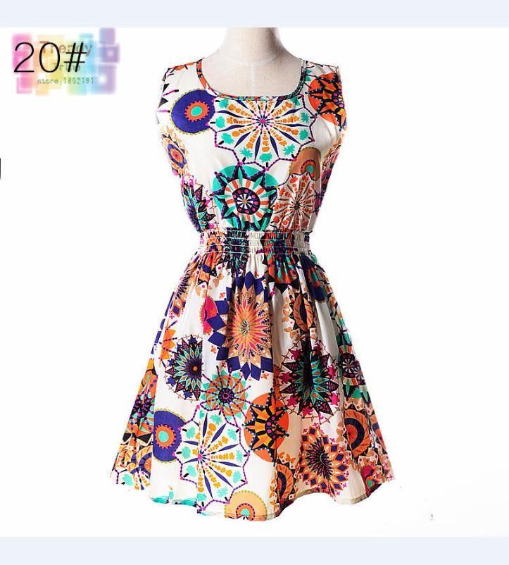 Sundress Party Summer Floral Print Elastic Waist Bohemian Beach Dresses