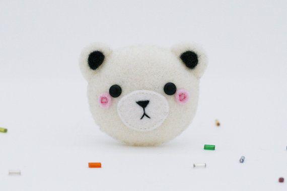 Polar Bear Felt Brooch, Felt Pin