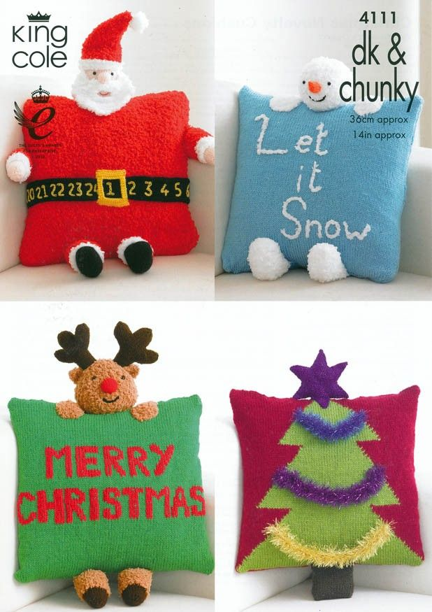 Christmas Novelty Cushions in King Cole DK & Chunky (4111) | Deramores