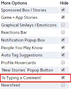 """FB Purity v17.1.1 has an option to hide the annoying """"someone Is typing a comment"""" box on Facebook.  FB Purity is a safe, free and top rated browser extension for Chrome, Firefox, Safari, Edge, Opera and Maxthon.  Get FB Purity here: http://fbpurity.com"""