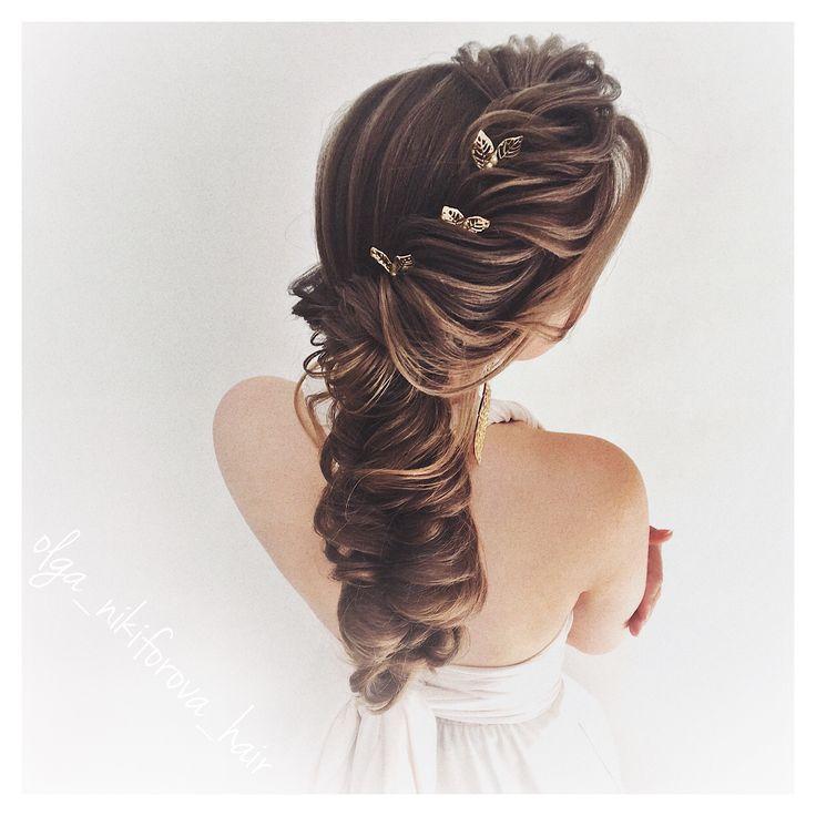 olga_nikiforova_hair прическа на свадьбу, выпускной, быстрая прическа для длинных волос, плетение, коса, объёмная коса