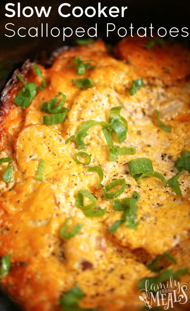 Slow Cooker Scalloped Potatoes - FamilyFreshMeals.com *NOTE TO SELF* Could use cream of broccoli or cream of chicken soup.