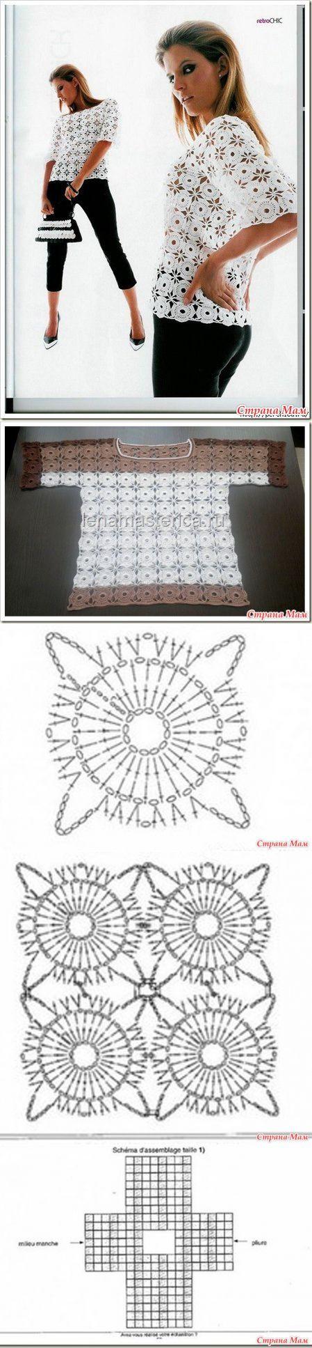 Кофточка круглыми мотивами безотрывным методом вязания.
