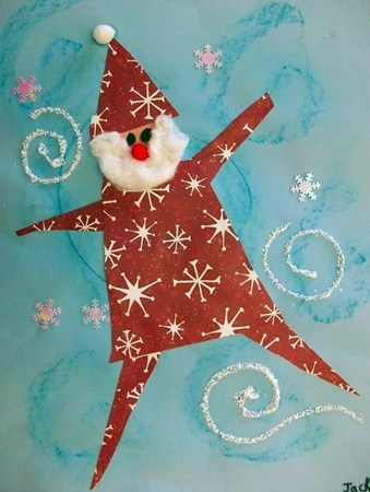 Dancing Santa - 1st grade   Christmas arts and crafts, Christmas paintings, Elementary art projects