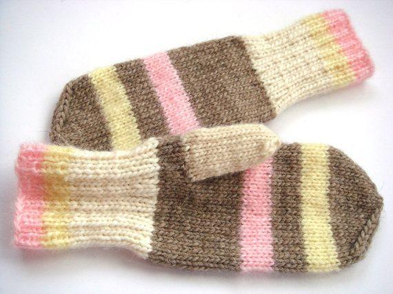 Women Mittens striped gloves wool mittens winter by RainbowMittens,