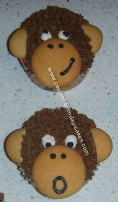 Monkey Birthday Cupcakes: These Monkey Birthday Cupcakes were for my son's first birthday party to go with a monkey cake I made. The cupcakes are made with a regular chocolate