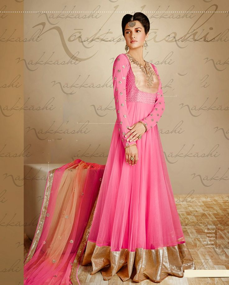 Pink floor length anarkali suit with golden broad border   1. Pink georgette net anarkali suit2. Comes with matching bottom and dupatta3. Can be stitched upto bust size 42 inches