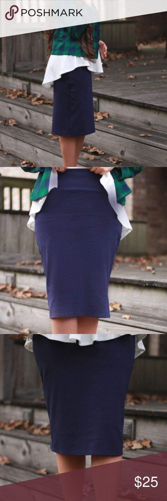 High Quality Navy Pencil Skirt Made of comfortable, stretchy material with no slits or zippers. Skirts Pencil