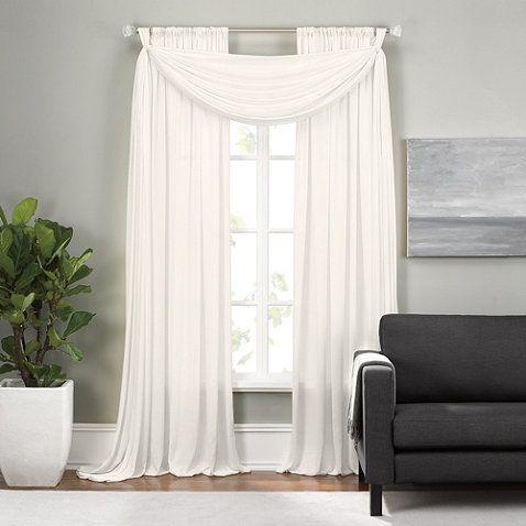 epic rod pocket window curtain panels and scarf valance bedbathandbeyondcom gfarris6 - Window Curtain Design Ideas