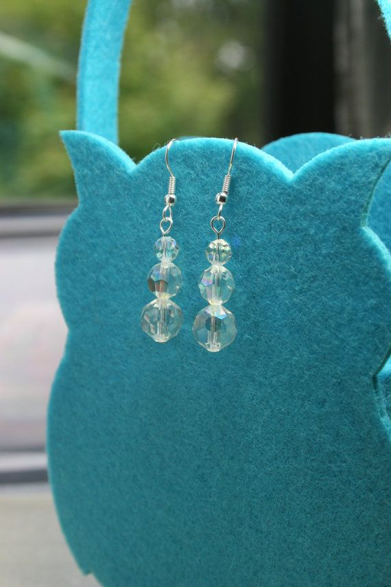 Women's clear cut glass sparkly earrings.  Ideal for a bride or bridesmaid.